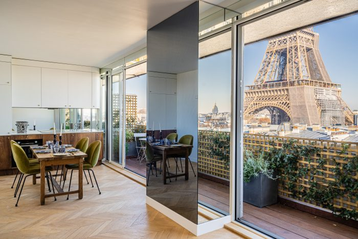 paris apartment with view of eiffel tower