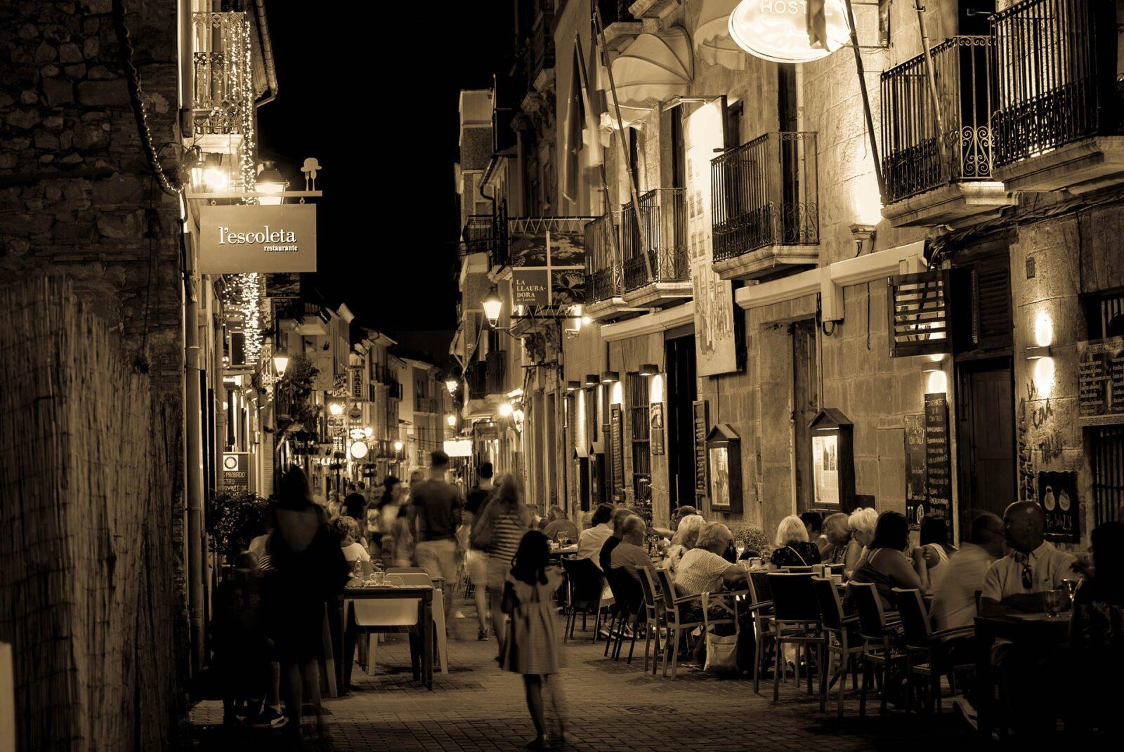 historic center denia spain at night