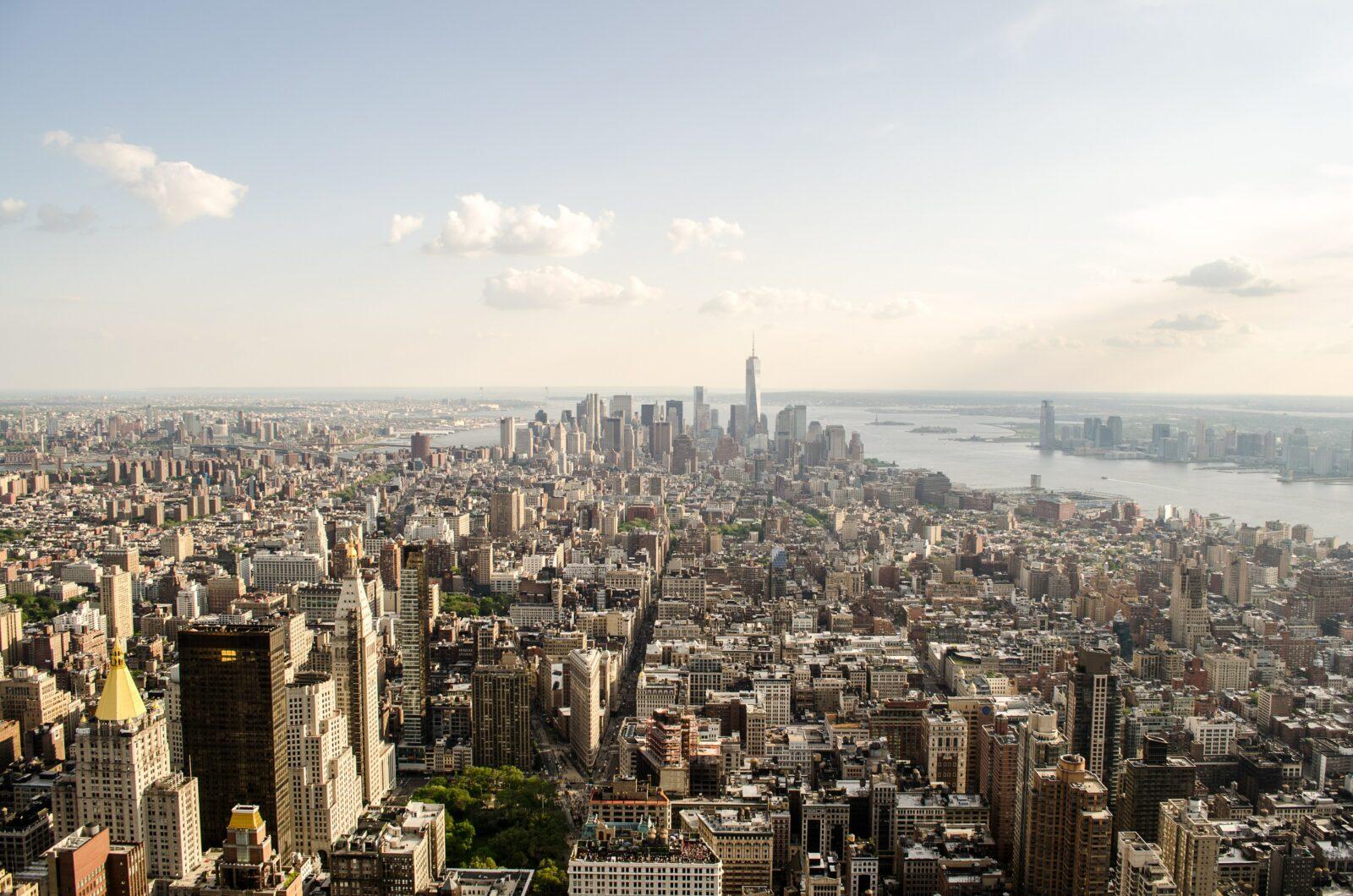 manhattan new york city skyline from above
