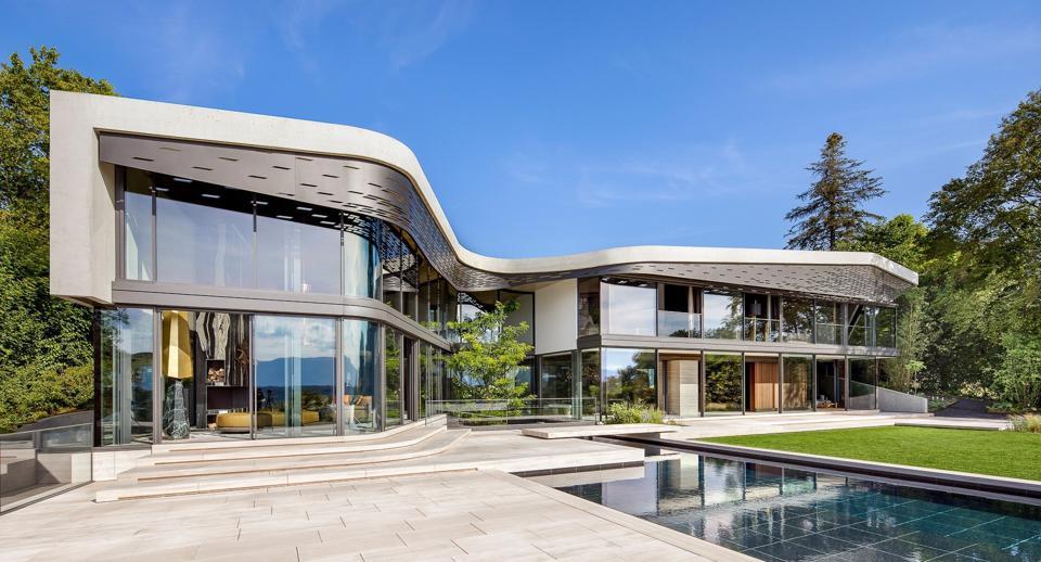 Villa Courbe modern home in Cologny, Geneva Lake, Switzerland