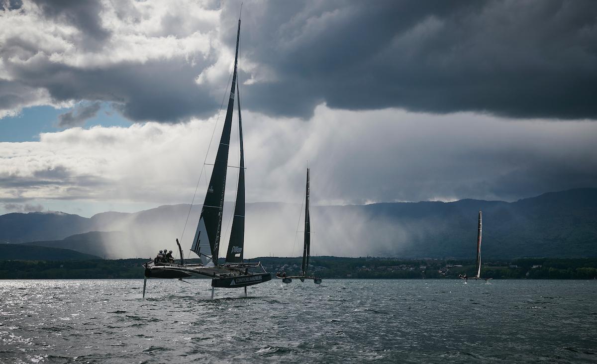 catamarans in lake geneva near nyon switzerland