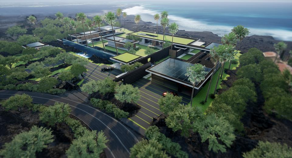 rendering of paul mcclean-designed hawaii compound