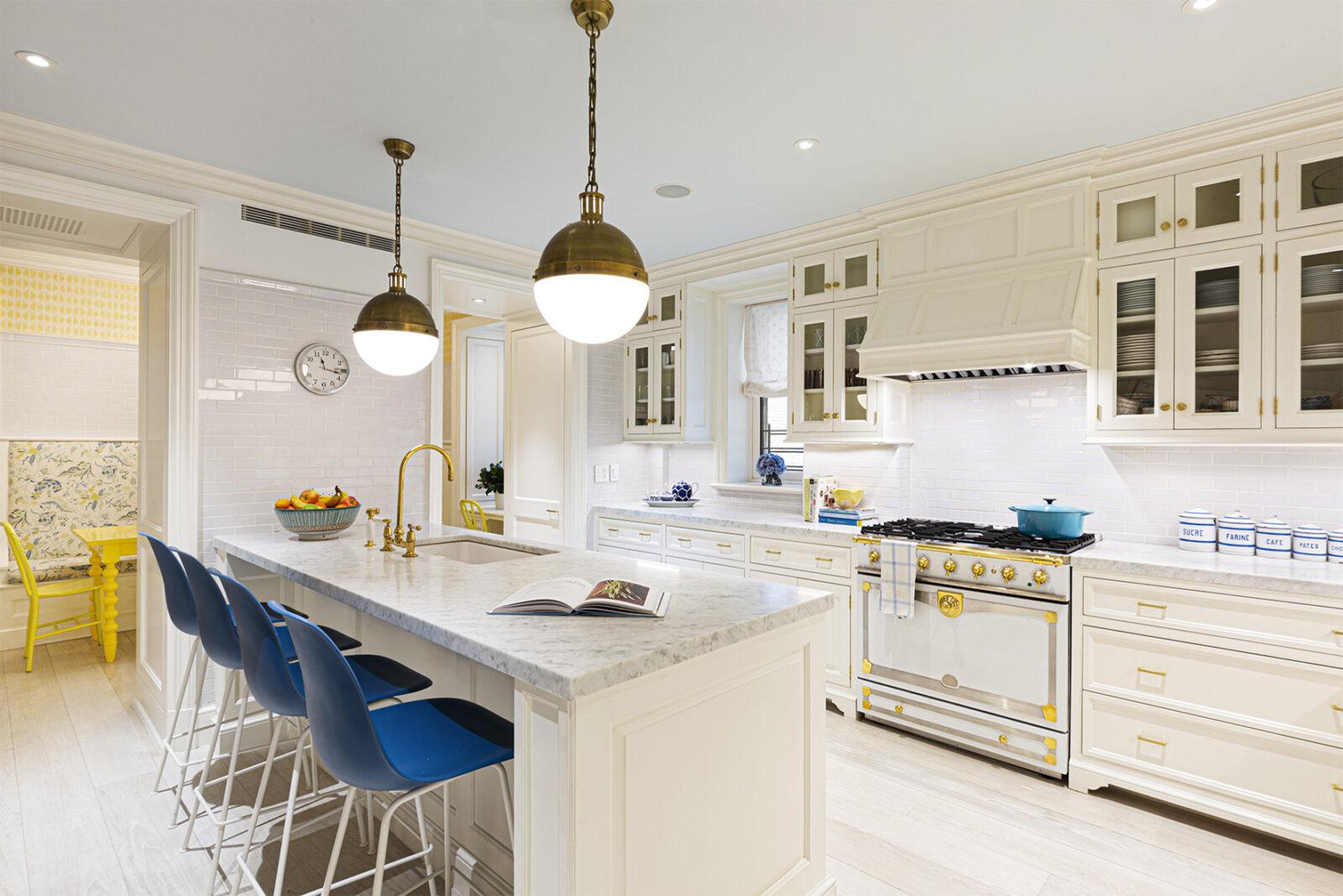 fancy kitchen with gold accents in new york manhattan