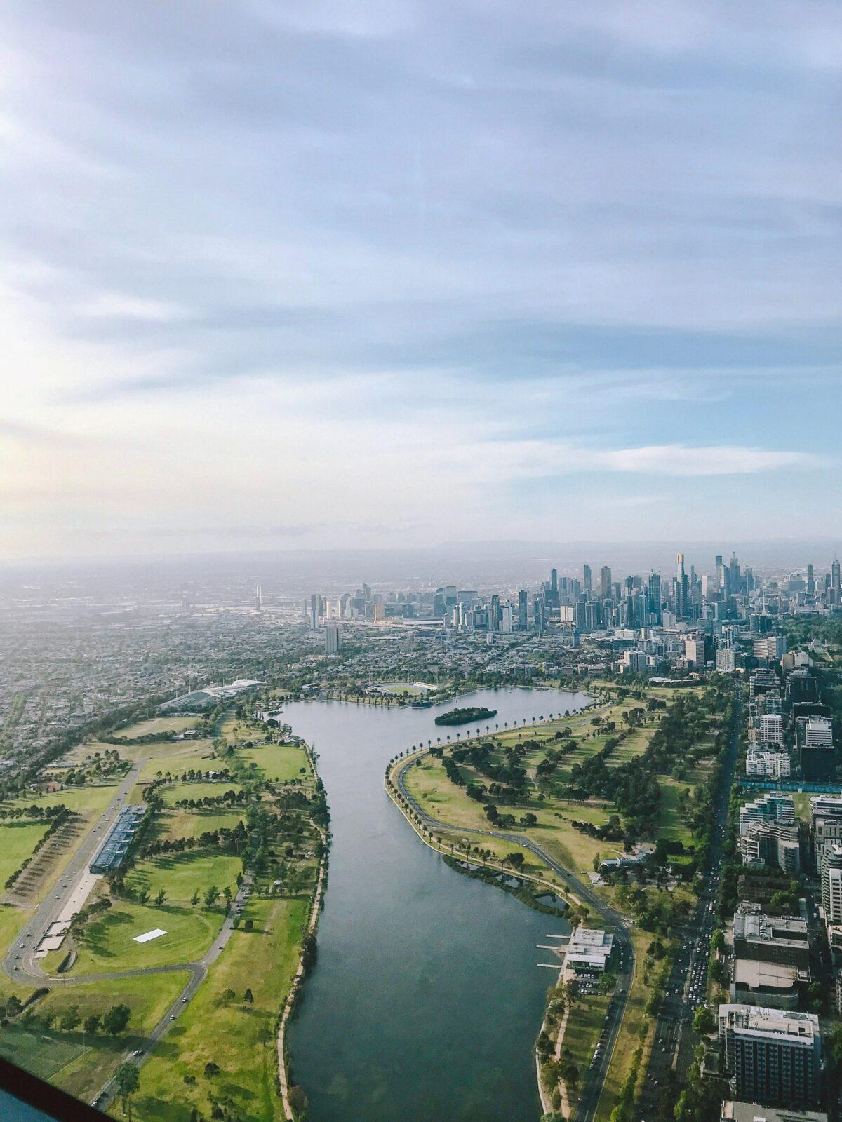 sky overlooking melbourne neighborhoods parks water