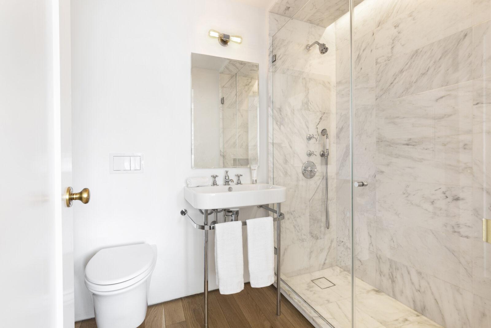 bathroom inside leroy neiman's former manhattan home
