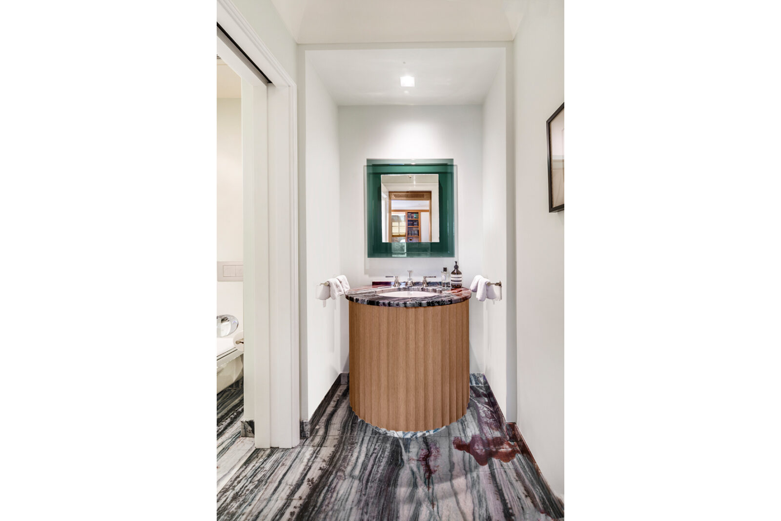powder room with a fluted vanity inside 1000 Park Avenue, Apt 2A