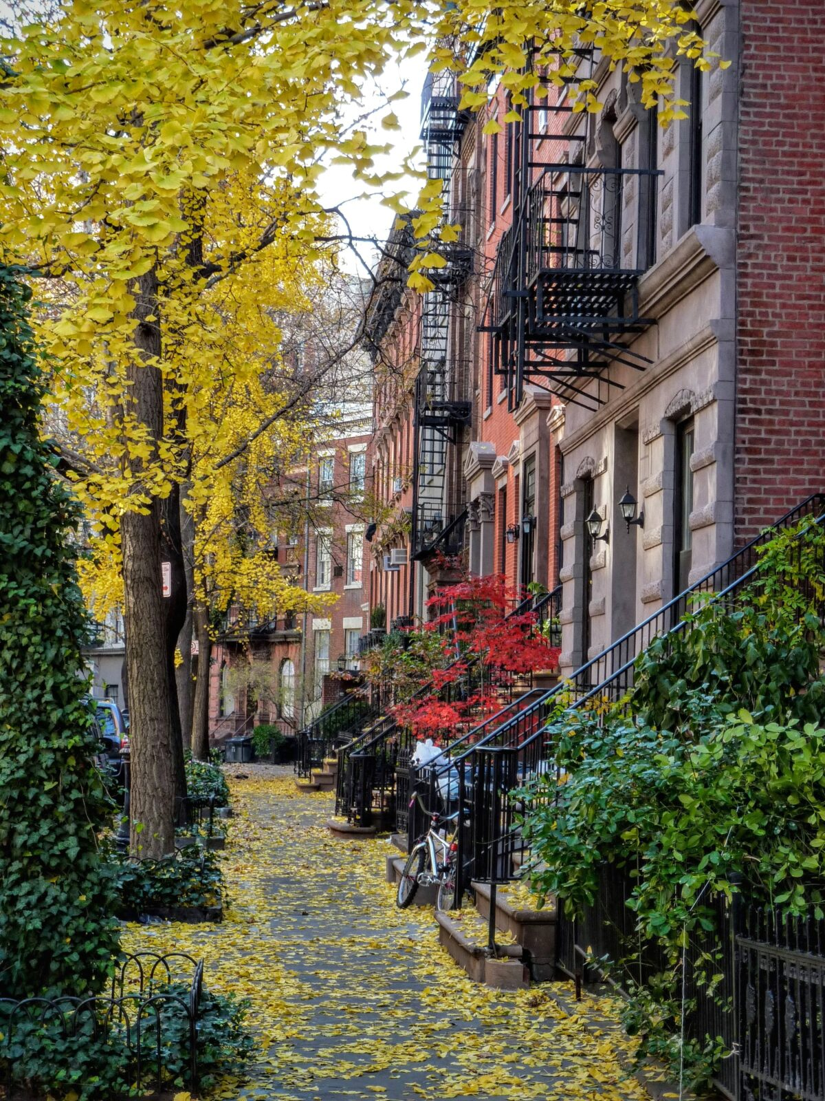 greenwich village street with historic old homes and brownstones