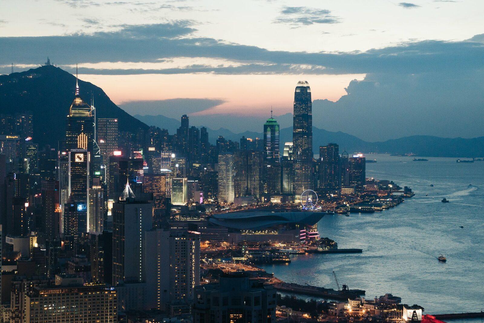 aerial view of the hong kong skyline at dusk