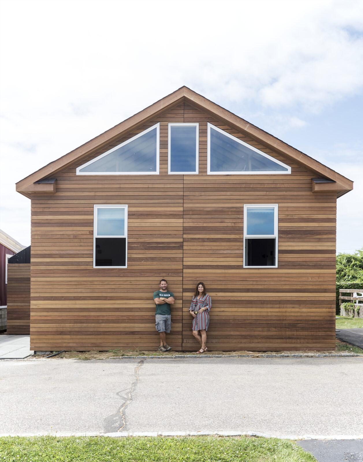modern beach shack with wood panels designed by courtney and robert novogratz