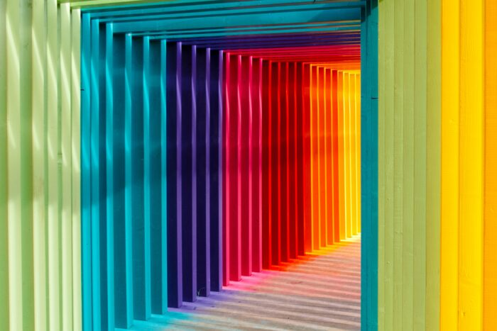 bright paint colors in a tunnel