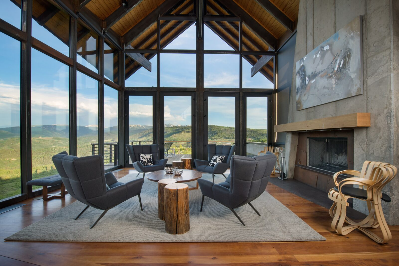 1000 ute forest living room with walls of glass